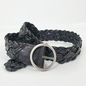 LOFT Leather Braided Belt Silver Round Buckle